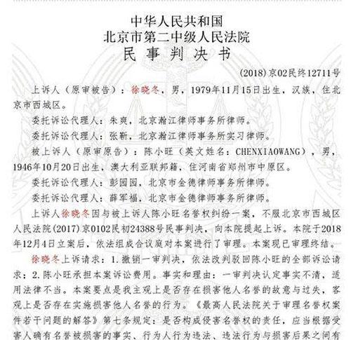 Bản án của tòa án quận Tây Thành dành cho Từ Hiểu Đông vì tội xúc phạm Trần Tiểu Vượng.