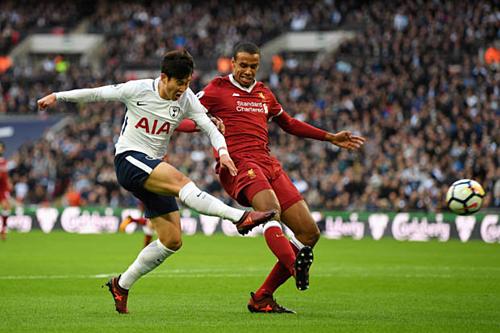 Matip theo kèm Son Heung-min trong một trận đấu với Tottenham. Ảnh:Reuters.