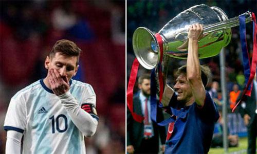 Messi có hai bộ mặt trái ngược ở tuyển Argentina và Barca.