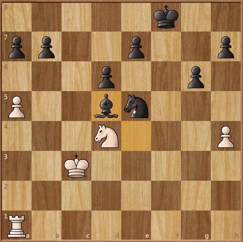 Thế cờ sau 35..Bd5. Các tốt đen đều đứng theo cặp, trong khi hai tốt trắng bị cô lập.