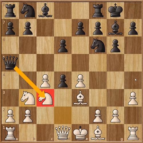 Trắng vừa nhảy mã lên b3 để đuổi Hậu đen. Karthikeyan mất hơn 20 phút trước khi đi dùng Hậu ăn mã c3. Ở nước cờ trước đó (8...cxd5), anh cũng dành sáu phút suy nghĩ. Điều này cho thấy đòn thí Hậu của Karthikeyan có thể không phải được chuẩn bị trước, mà do anh phát hiện ra trong ván đấu. Phòng thủ Ấn Độ vua được coi là sở trường của anh.