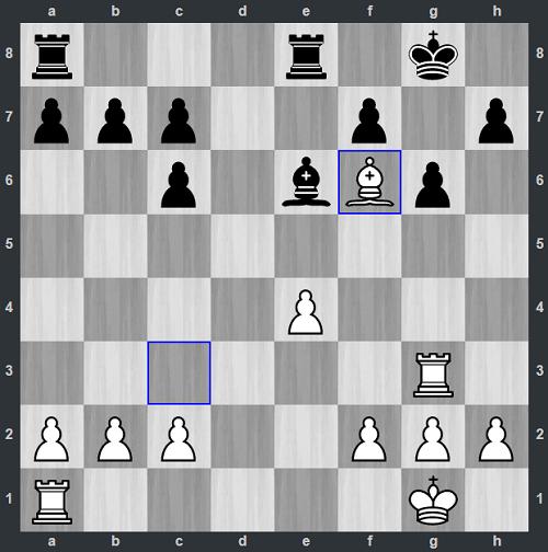 Thế cờ sau 19.Bf6. Quân tượng khó chịu của Quang Liêm khiến Đen gần như tê liệt. Không chỉ kiểm soát ô d8, Trắng còn đe dọa chiếu hết ở hàng tám trong tương lai.