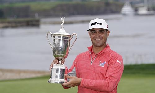 Woodland là người thứ 53 vô địch US Open sau khi giữ đỉnh bảng vòng ba. Ảnh: AP.