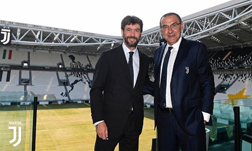 Sarri được Chủ tịch Andrea Agnelli kỳ vọng sẽ giúp nối dài sự thống trị của Juventus. Ảnh: JFC.