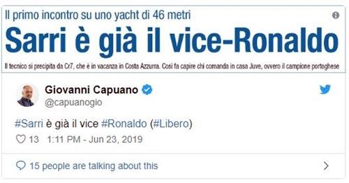 Báo Italy gọi Sarri là trợ lý của Ronaldo