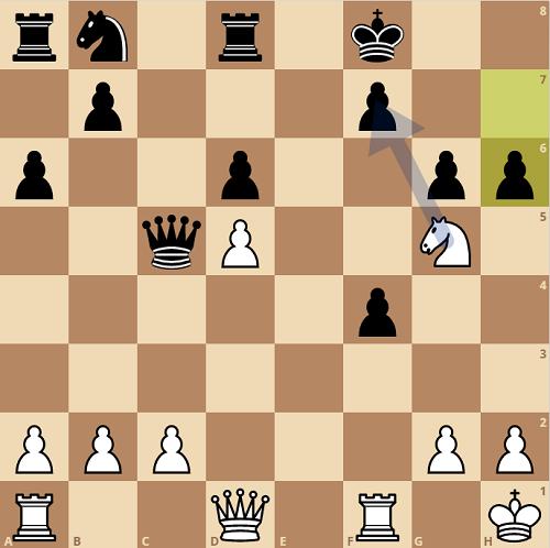 Hình cờ sau 20...h6. Quang Liêm đáp trả với đòn thí mã vào f7. Trắng mở toang cột f và cột e. Từ đó, Hậu và xe trắng dàn quân ở hàng sáu, dọa tấn công hàng sáu hoặc hàng bảy.