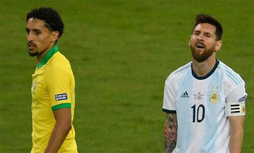 Brazil của Marquinhos thắng Argentina của Messi trước khi lên ngôi. Ảnh: Reuters