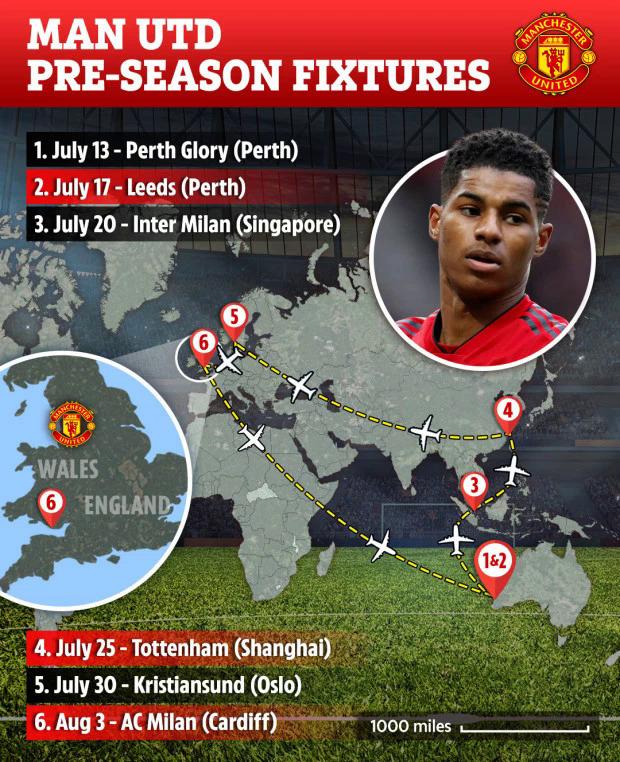 Man Utd sẽ đá 6 trận giao hữu chuẩn bị cho mùa giải 2019-2020.