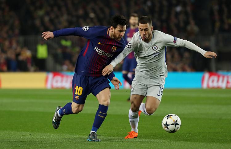 Messi (trái) và Hazard cùng đắt giá thứ ba thế giới, sau Mbappe và Neymar.