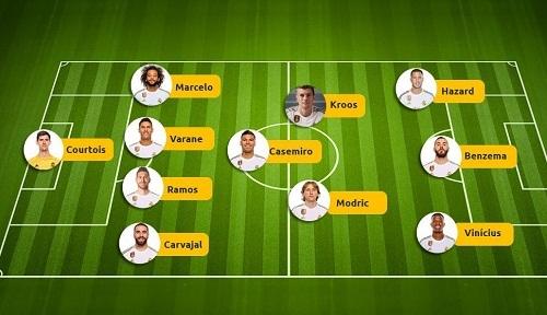 Đội hình Real với sự góp mặt của Hazard. Ảnh: Marca.