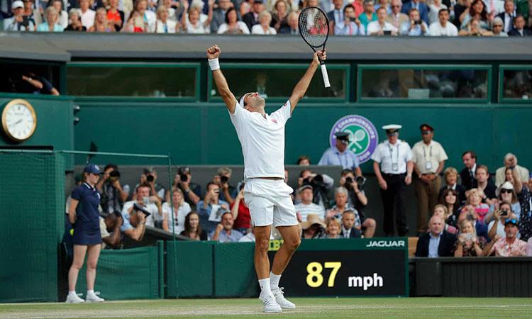 Niềm vui chiến thắng của Federer. Ảnh: AFP.
