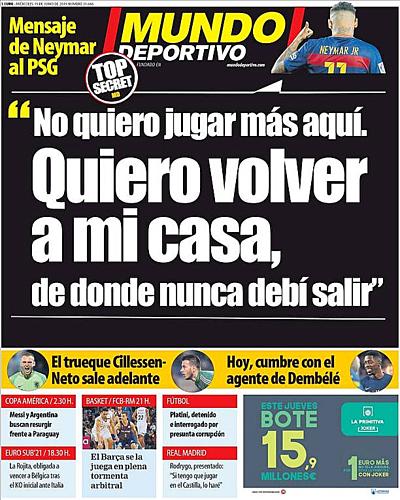 Mundo Deportivo đăng ước nguyện của Neymar lên trang nhất.