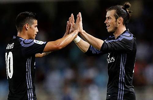 Rodriguez và Bale từng là hai ngôi sao được kỳ vọng rất nhiều ở Real. Ảnh:AFP.