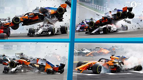 Leclerc suýt mất mạng vì cú bay sượt đầu của chiếc MCL33 do Alonso điều khiển.