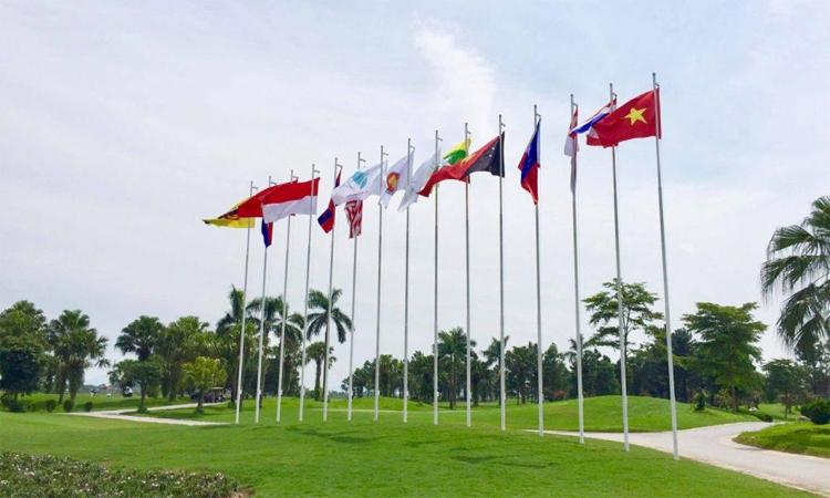 Sân Đầm Vạc (Vĩnh Phúc) đang hoàn tất những công đoạn chuẩn bị cuối cùng cho giải golf đồng đội Đông Nam Á. Ảnh: VGA.