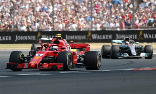 Sức mạnh động cơ và những nỗ lực tột cùng chỉ giúp Hamilton có được vị trí thứ nhì, sau Vettel, trên sân nhà. Ảnh: ESPN.