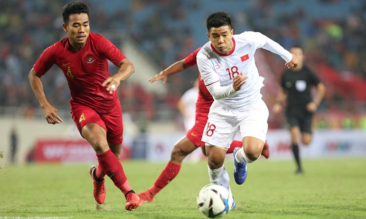 Indonesia (áo đỏ) ngại gặp những đối thủ mạnh trong khu vực Đông Nam Á. Ảnh: Xuân Bình.