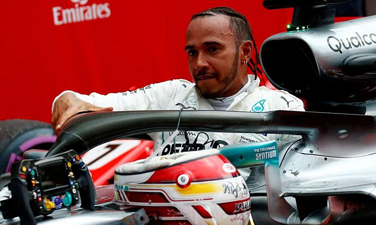 Hamilton với chiến thắng ở Hockenheim 2018. Ảnh: Reuters.