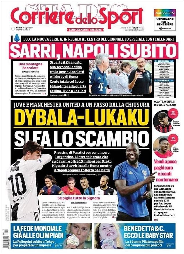 Trang bìa Corriere dello Sport thông báo về vụ trao đổi cầu thủ giữa Man Utd và Juventus.
