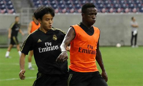 Kubo và Vinicius có ít cơ hội thi đấu cùng nhau do đều là cầu thủ ngoài EU. Ảnh: AS