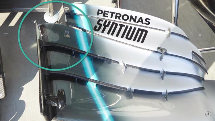 Hư hại cánh gió trước sau va chạm với Leclerc khiến Bottas chỉ về thứ tám ở Hungaroring. Ảnh: Mercedes.