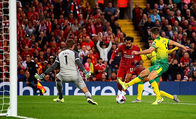 Salah chọc thủng lưới 21 trong số 23 CLB anh từng đối mặt tại Ngoại hạng Anh. Ảnh: AFP.
