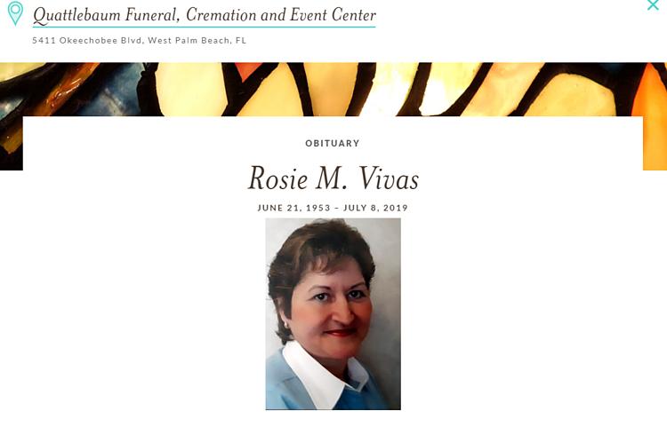 Chân dung Rosie trong bản cáo phó.