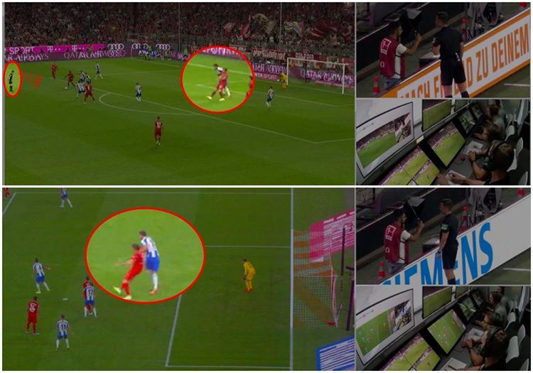 VAR phát hiện ra phạm lỗi của Grujic với Lewandowski.