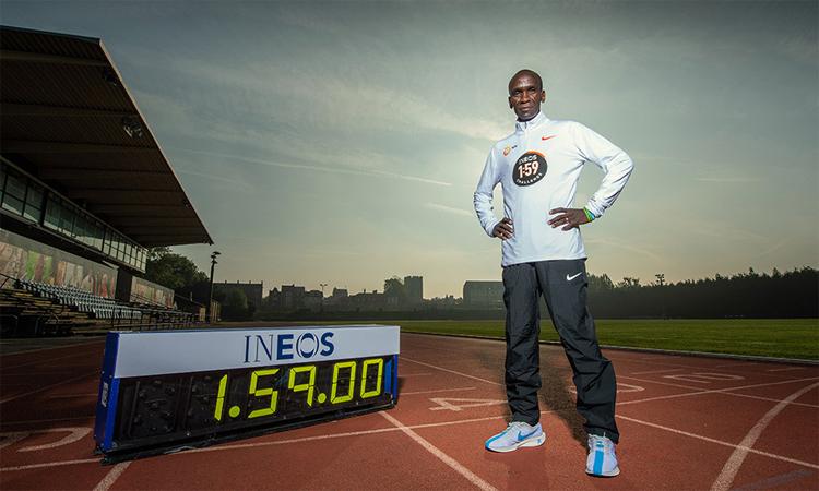 Kipchoge đang rất tự tin với mục tiêu chinh phục mốc chạy marathon dưới 2 tiếng đồng hồ. Ảnh: Athletics Weekly.