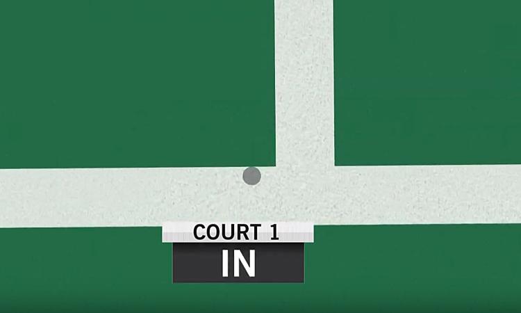 Vị trí cầu rơi (chấm tròn xám) nằm về bên trái so với đường kẻ dọc đầu tiên từ trái sang, tức là cầu ngoài. Nhưng, mắt diều hâu báo cầu trong sân.