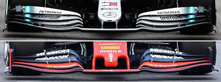 Cấu tạo cánh gió trước của Mercedes (trên) và Ferrari (dưới). Ảnh: Motorsport.