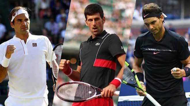 Djokovic (giữa) và Nadal (phải) có nhiều cơ hội vô địch ở Flushing Meadows hơn Federer - tay vợt vừa bước qua tuổi 38 cách đây hơn hai tuần.