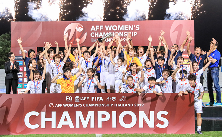 Đội tuyển Việt Nam mừng chức vô địch lần thứ ba ở Đông Nam Á.