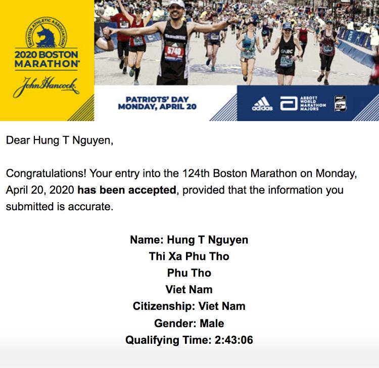 Email của ban tổ chức Boston Marathon thông báo Nguyễn Tiến Hùng (tức Hùng Hải) đạt chuẩn dự giải chạy này năm 2020.