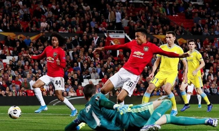 Greenwood (số 26) ghi bàn duy nhất cho Man Utd. Ảnh: Reuters.