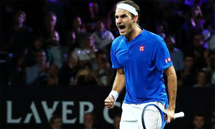 Federer giúp đội châu Âu có lợi thế quan trọng trong ngày ra quân tại Laver Cup 2019. Ảnh: Reuters.