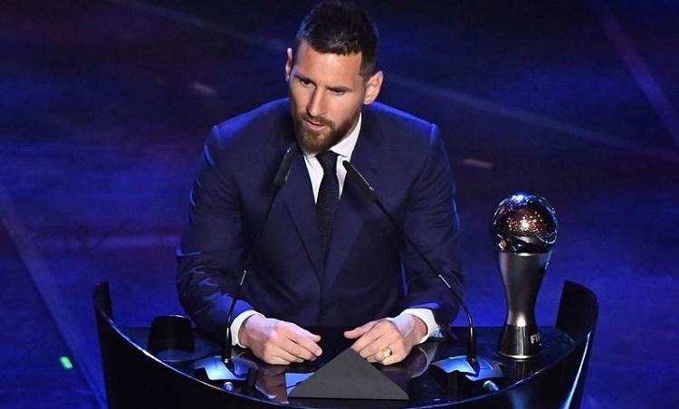 Messi phát biểu khi nhận giải The Best 2019. Ảnh: Reuters.