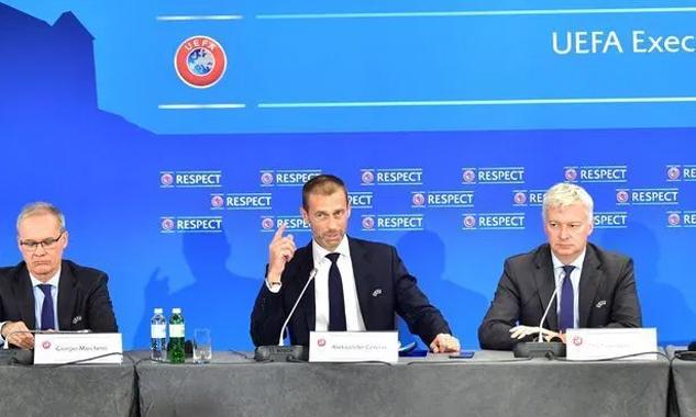 Chủ tịch UEFA Ceferin (giữa) muốn tạo thêm sân chơi cho các đội bóng nhỏ ở các giải vô địch lớn và các CLB ở những nền bóng đá nhỏ. Ảnh: REX.