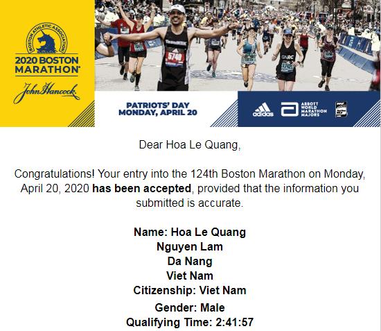 BBA mail thông báo Hồng Lệ và Quang Hòa đạt chuẩn dự Boston Marathon 2020.