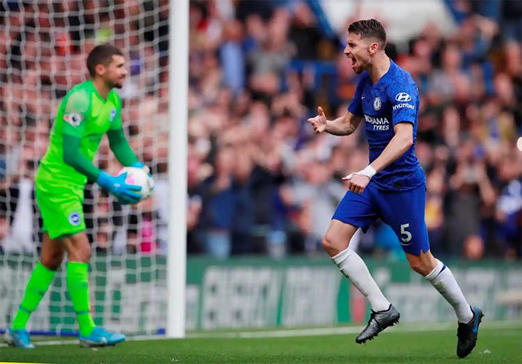 Jorginho mừng bàn mở tỷ số cho Chelsea. Ảnh: Reuters.