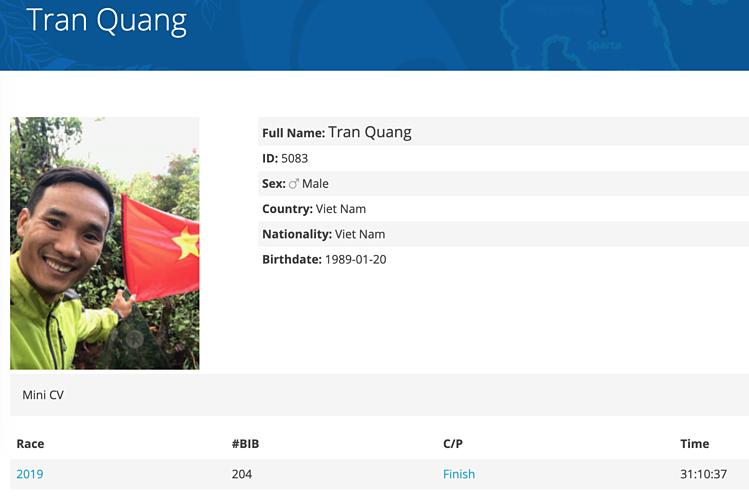 Kết quả thi đấu của Quang Trần được công bố trên trang web của ban tổ chức.