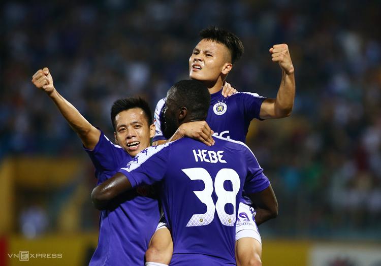 Bộ ba tấn công Quang Hải, Văn Quyết và Kebe được kỳ vọng sẽ ghi bàn đưa Hà Nội vào chung kết. Ảnh: Lâm Thoả