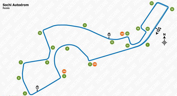 Hình dáng đường đua Sochi. Ảnh: Racefans.