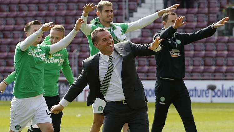 Với Celtic, Rodgers nhanh chóng gặt hái thành công và đoạt những danh hiệu đầu tiên trong đời cầm quân. Ảnh: Reuters.
