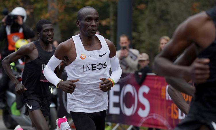 Kipchoge trên đường chạy sự kiện Ineos 1:59 Challenge tại công viên Prater, Vienna, Áo hôm nay. Ảnh: Ineos.