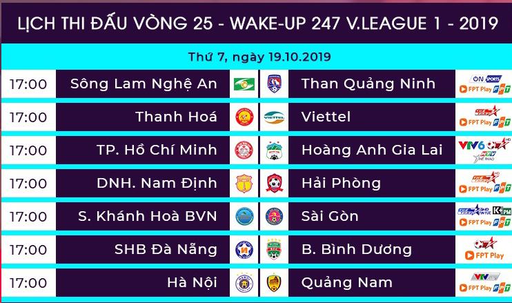 Lịch thi đấu vòng 25 V-League 2019.