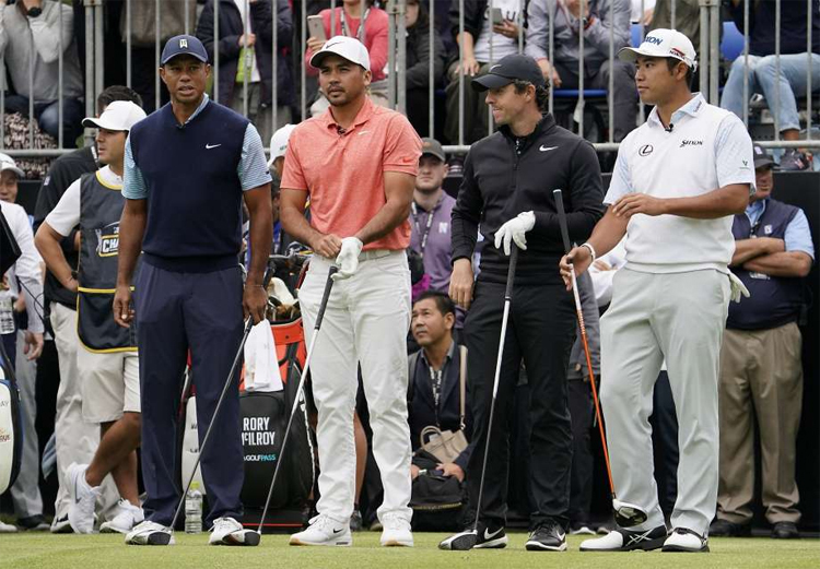 Tiger Woods, Jason Day, Rory McIlroy vàHideki Matsuyama tại The Challenge: Japan Skins hôm 21/10. Ảnh: AP.