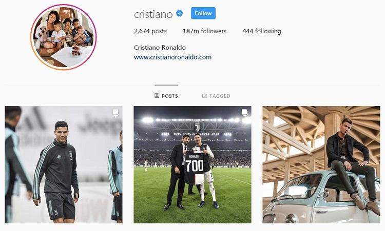 Ronaldo kiếm nhiều tiền từ Instagram hơn lương cầu thủ. Ảnh: Instagram/Cristiano.
