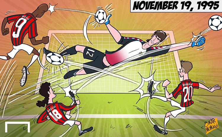 Biếm họa về màn trình diễn đỉnh cao của Buffon trước các chân sút thượng thặng bên phía AC Milan trong lần thủ môn này trình làng cùng Parma tại Serie A.
