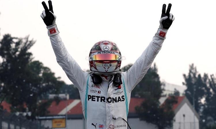 Chiến thắng tại Mexico chưa thể giúp Hamilton đăng quang. Ảnh: Reuters.